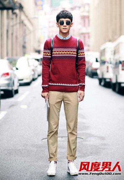 冬天男士毛衣内搭衬衫穿法 保暖又有型