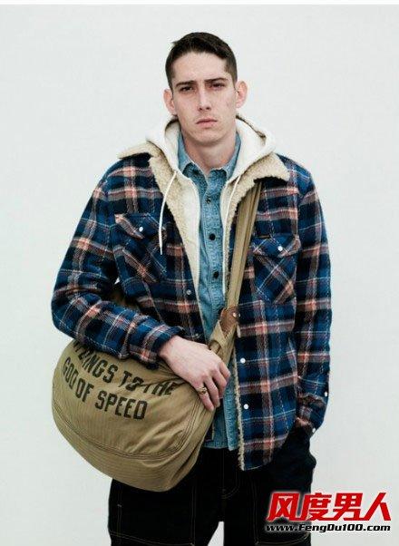 冬季欧美复古硬汉风棉装搭配图片