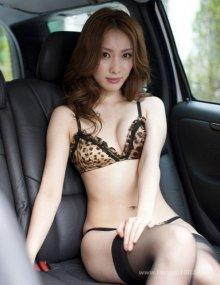 豪乳美女车模性感豹纹车内诱惑照片