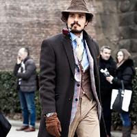 男士毛呢大衣冬季型男搭配街拍