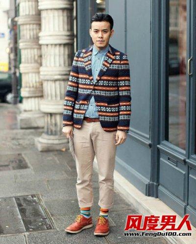 街拍潮男下半身搭配鲜亮的短袜亮了