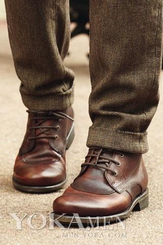 男士皮鞋靴子和裤子搭配技巧