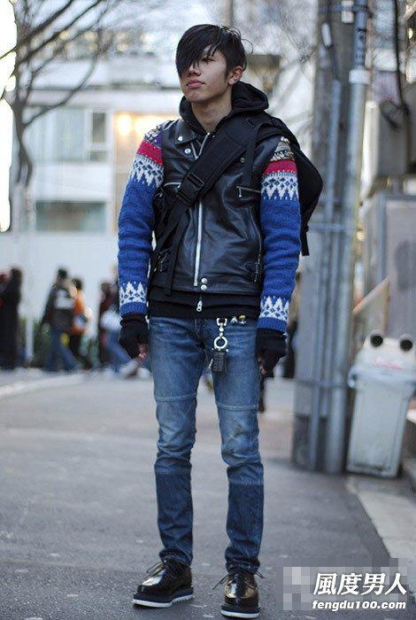 街拍日本东京男人冬季穿衣 街头的焦点