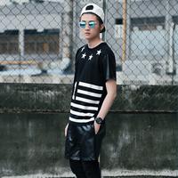 五月潮男街拍一身黑色酷酷搭配